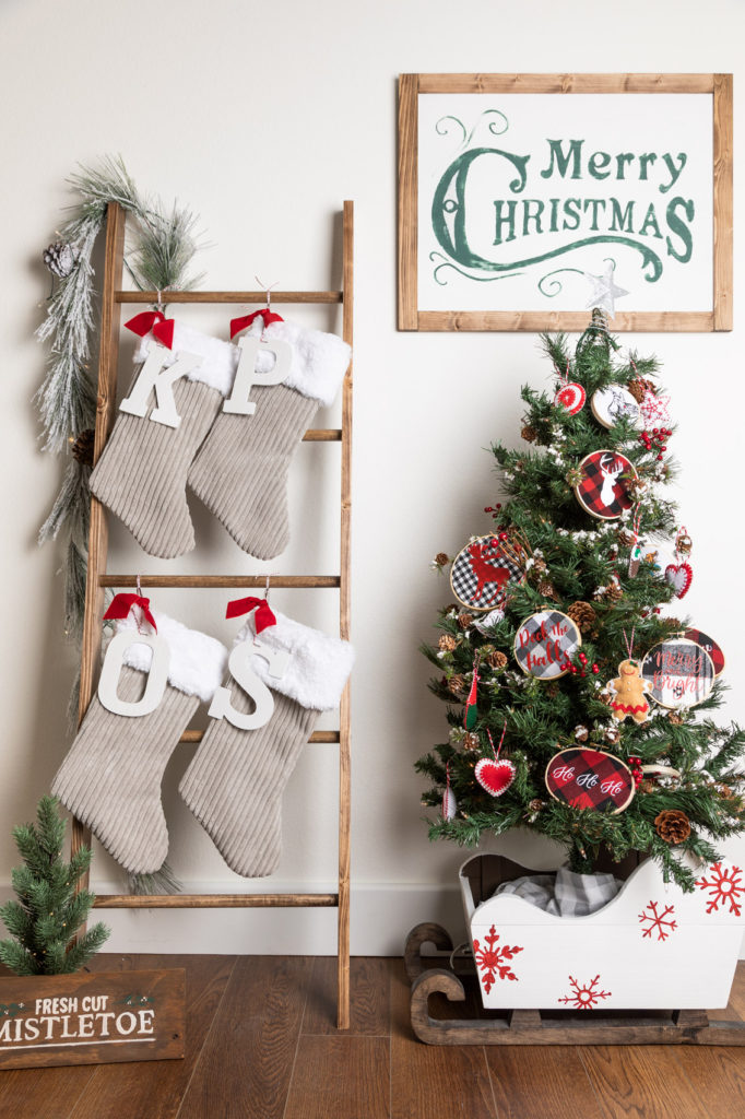 Blanket ladder with handmade Christmas stockings