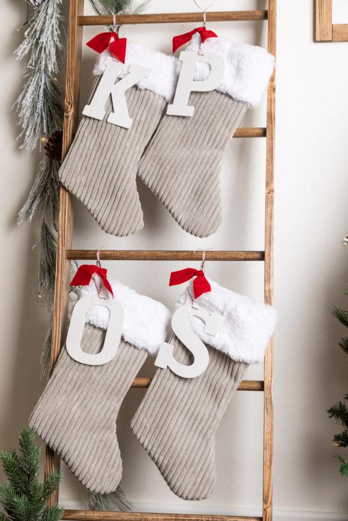 Handmade Christmas stockings with Initials