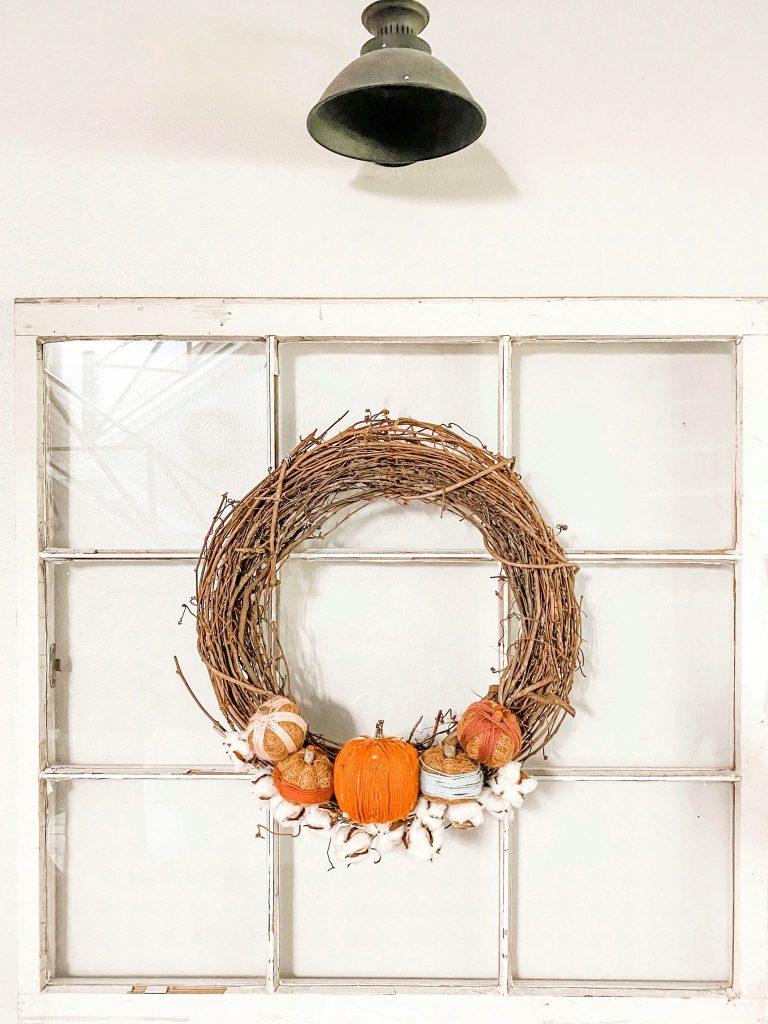 Rustic DIY Fall Pumpkin Wreath