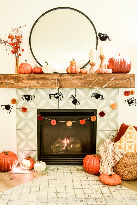 Halloween Mantel with DIY Spider banner