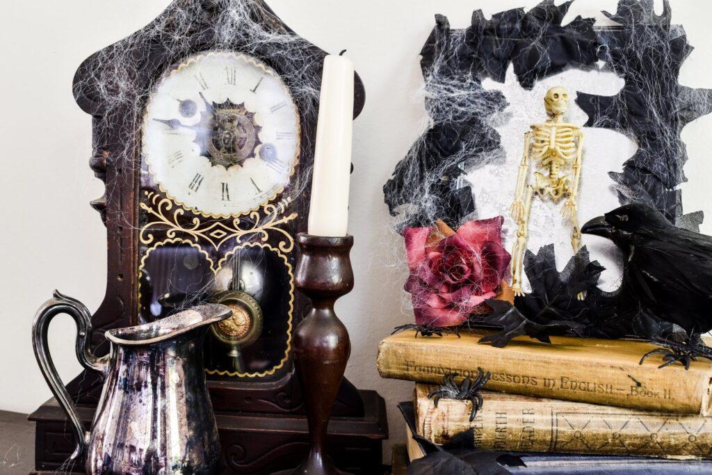 Spooky Halloween Vignette and DIY Skeleton Mirror