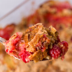 Crunchy buttery topping with fruity ooey-gooey center