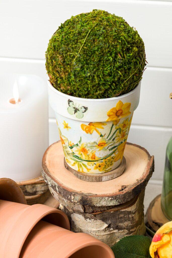 Clay Pot With Napkin Decoupage