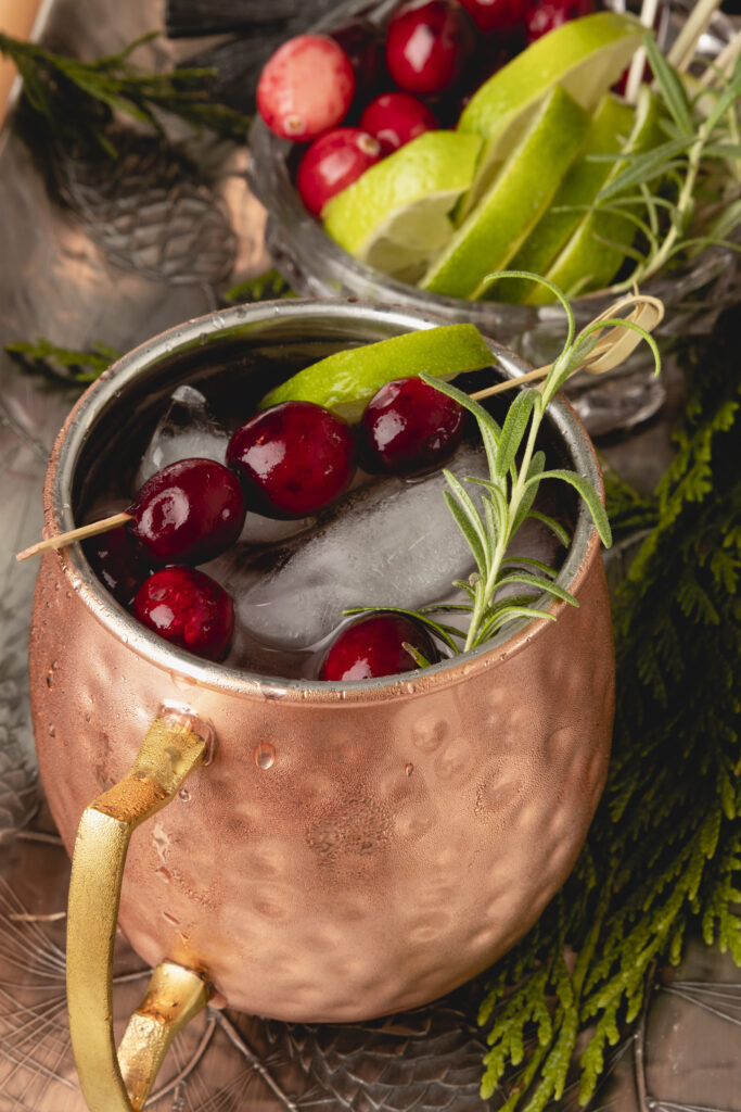 Self-serve Holiday Cranberry Mule Bar