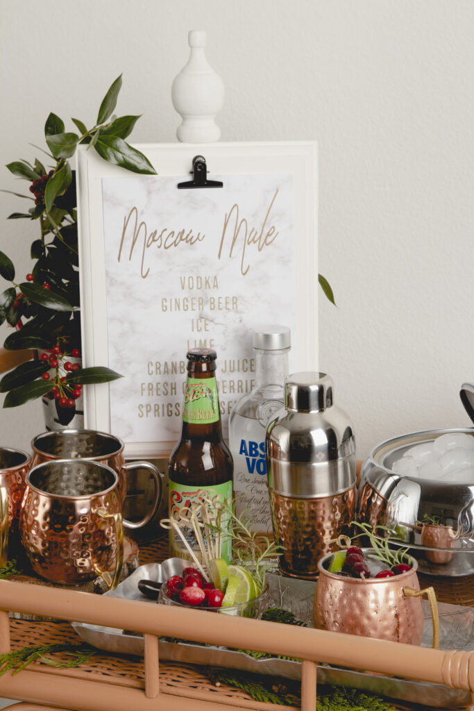 Holiday Cranberry Mule Bar Cart