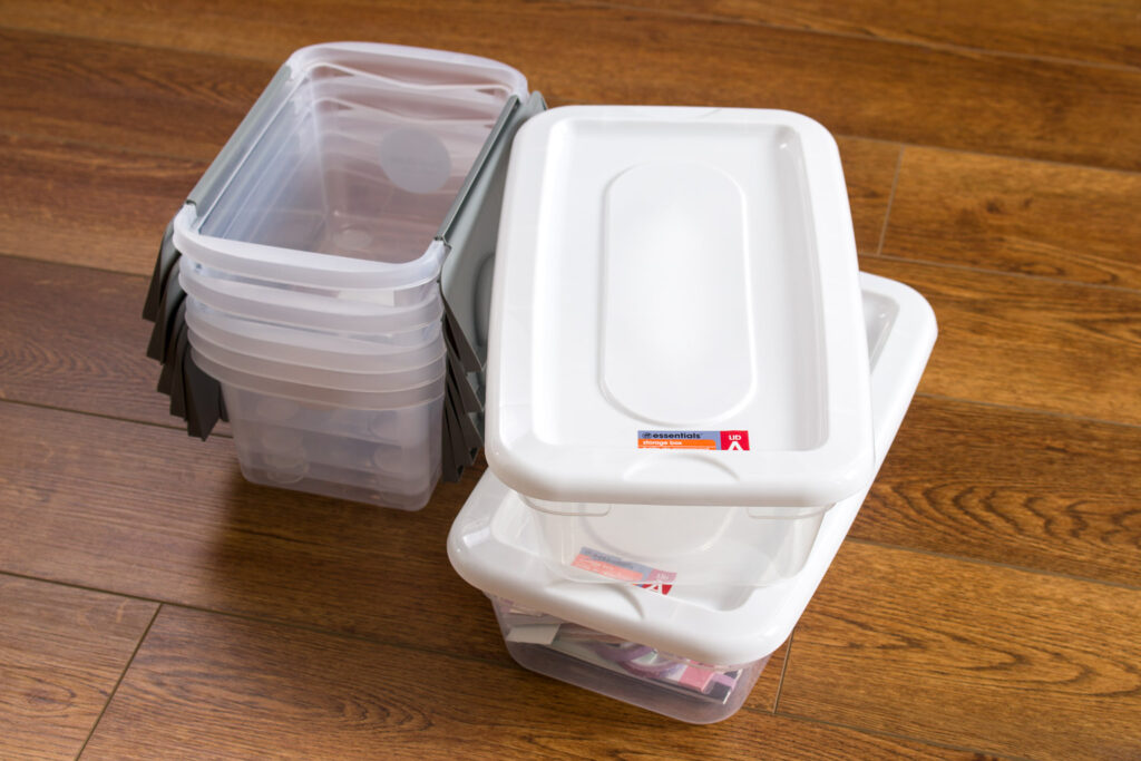 Plastic containers for office organizing