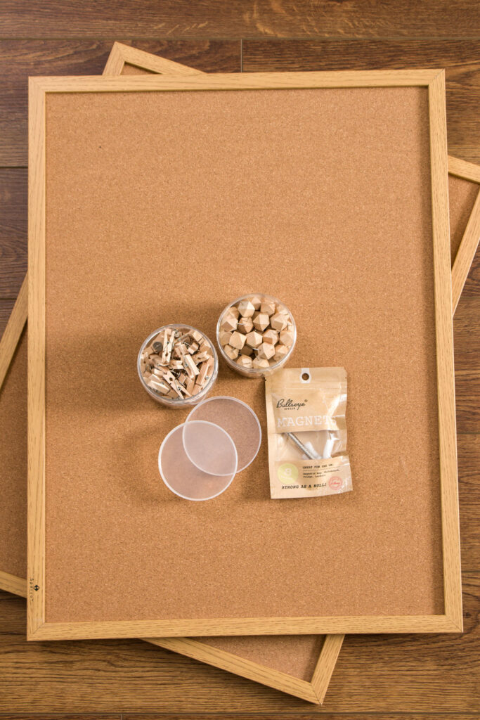 Cork boards with push pins