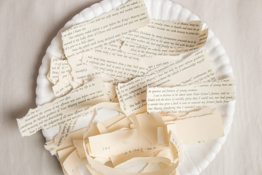 Torn book pages