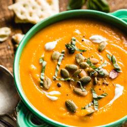 Garnished butternut soup