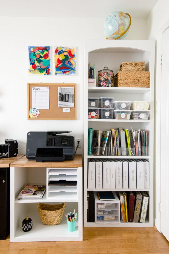 Organized storage shelves