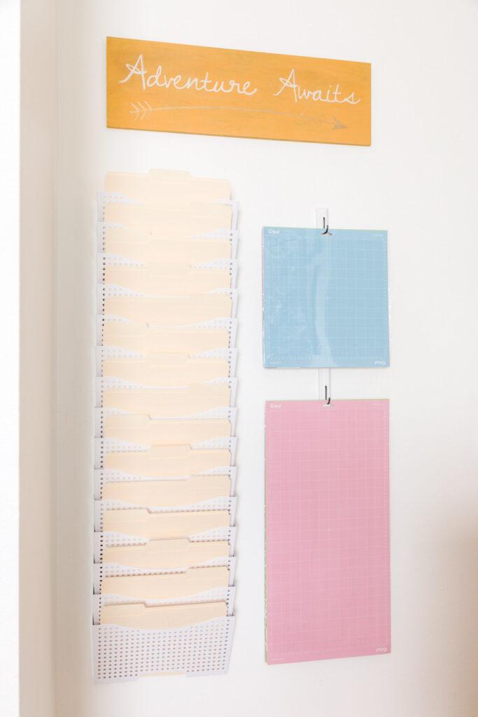 Wall-mounted file holder and DIY Cricut mat hanger