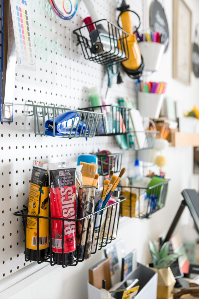 Pegboard organized with crafting items