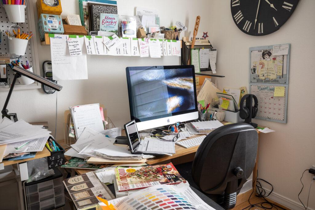 Disorganized desk area