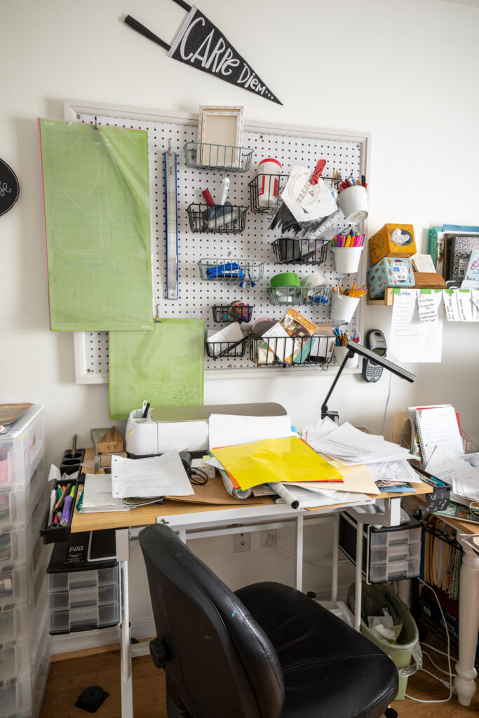 Olivia's drafting table before organization
