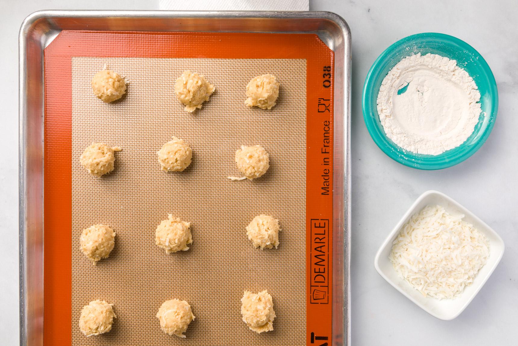 Cookie dough, flour, coconut