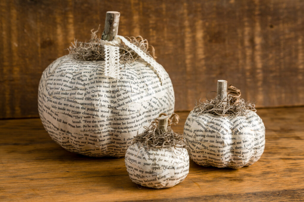 Book Page Decoupage Pumpkins