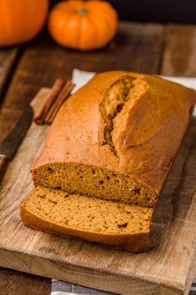 Slice fresh baked bread