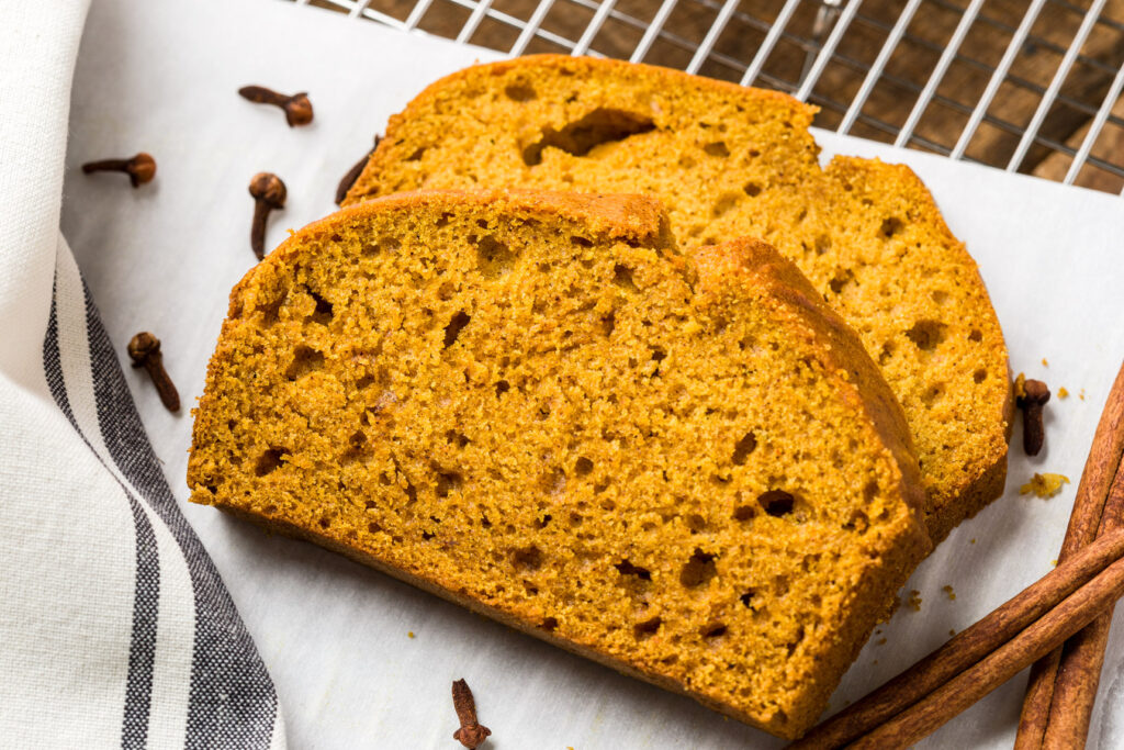 Thick slices of pumpkin bread