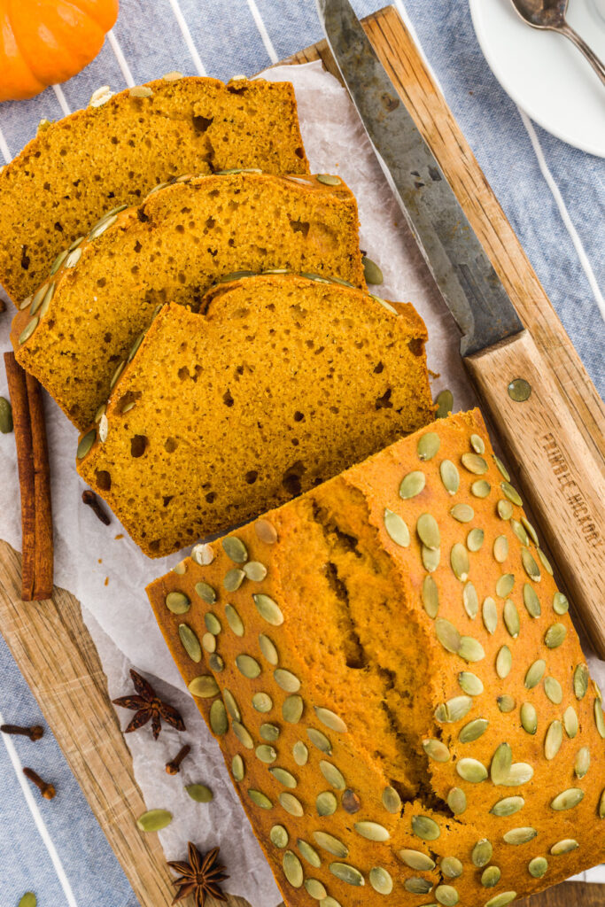 Pumpkin bread with Pepitas topping