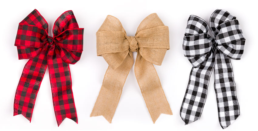 DIY Wreath Bows with burlap, black and white and red and white buffalo check