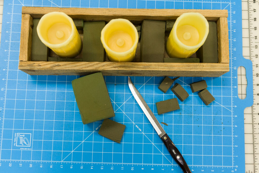 Filling the box with floral foam