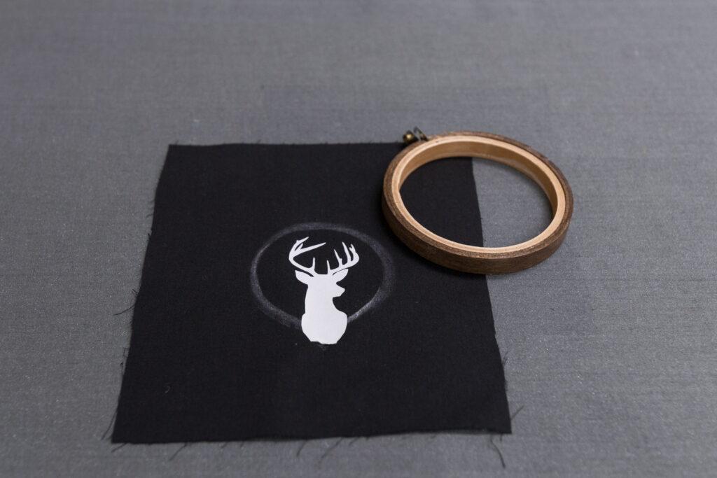 Vinyl decal pressed on fabric