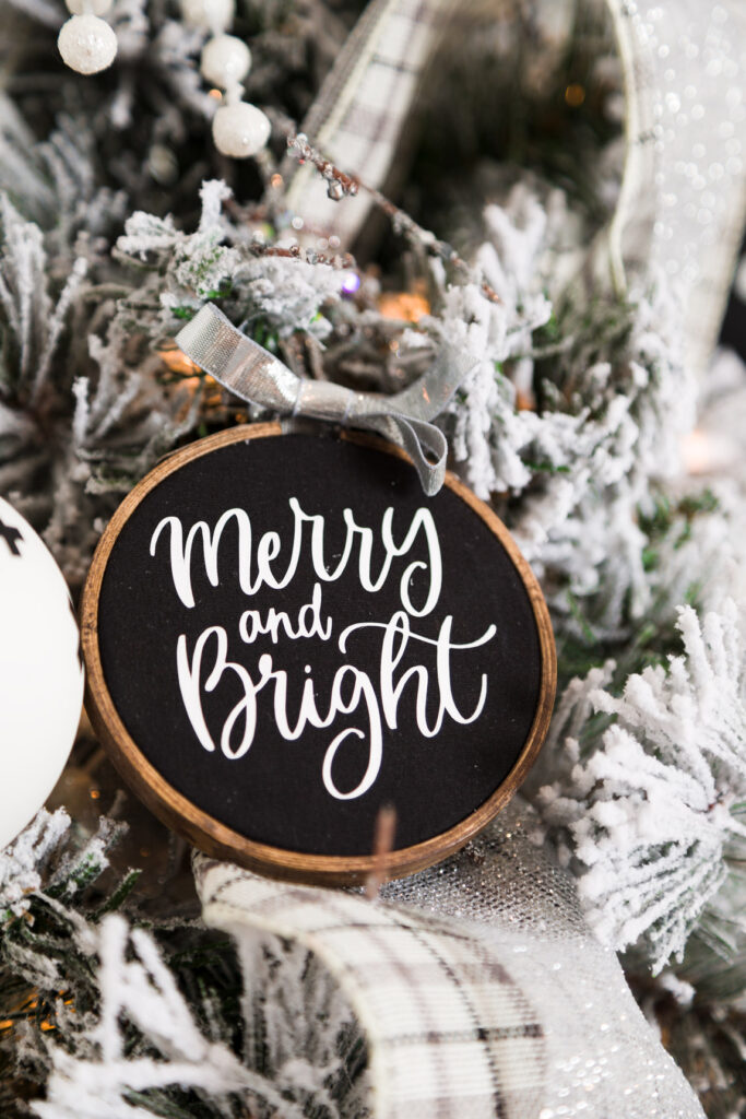 Merry and bright DIY embroidery Hoop Christmas Ornament