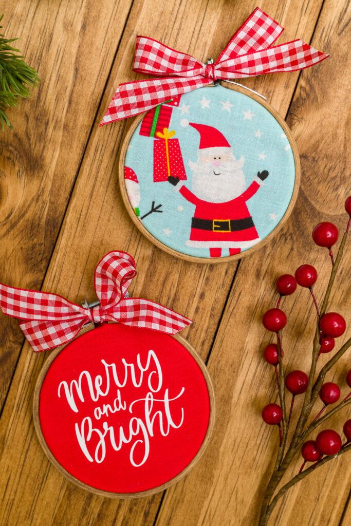 DIY Christmas Ornaments (embroidery hoop)