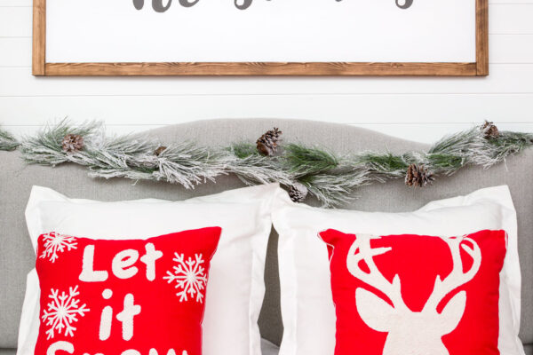 Christmas Pillows, throw and handmade Christmas sign