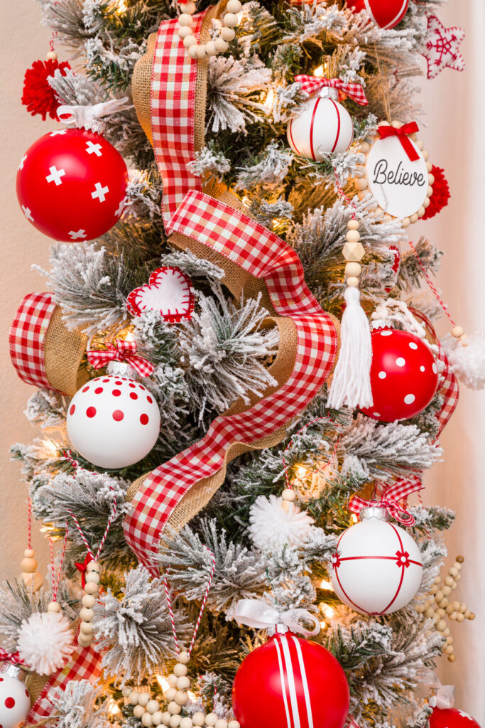 Tree Decorated with Handmade red and white Christmas Ornaments s