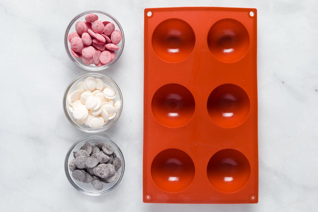 Silicone mold and melting chocolates