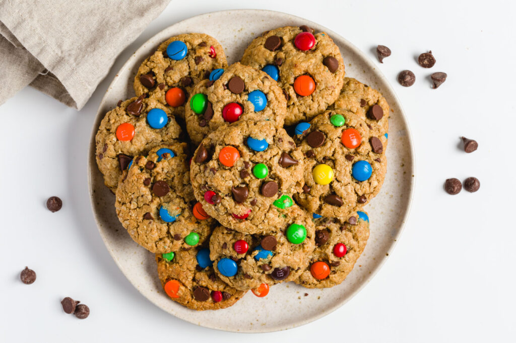 M&M peanut butter oatmeal monster cookies