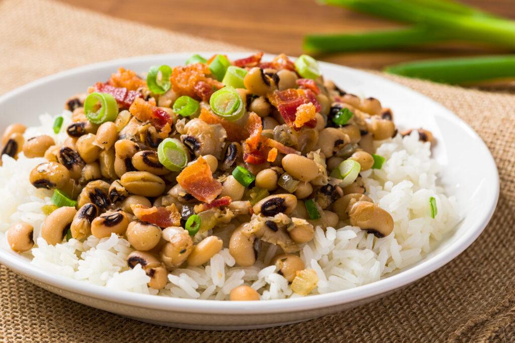 Black Eyed Peas over rice