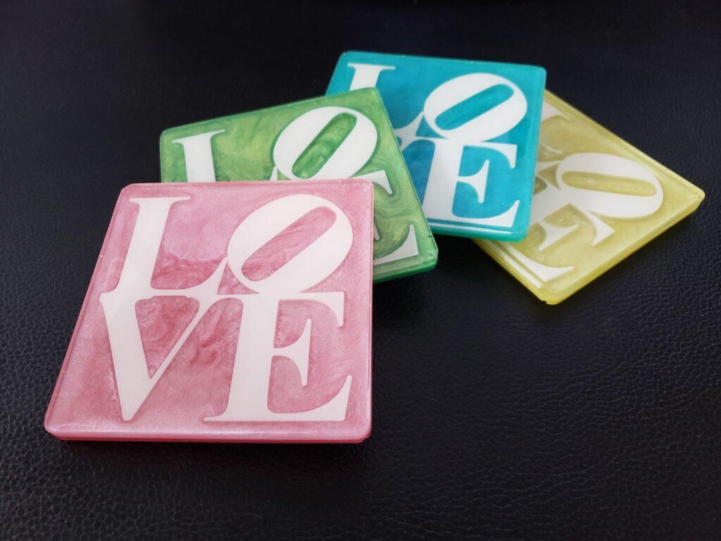 Love resin coasters