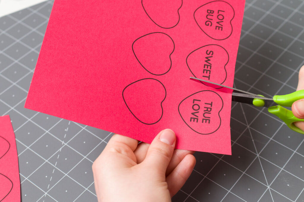 Cut out the hearts along the outlines