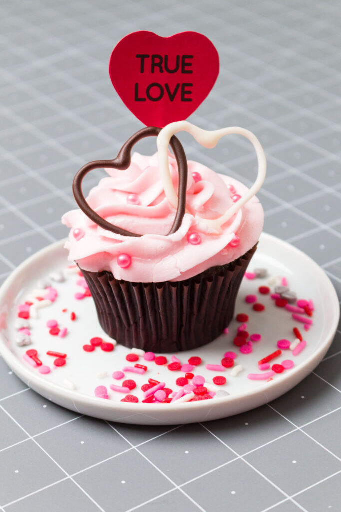 Sweet treat Valentine's Day Cupcake with Heart pick