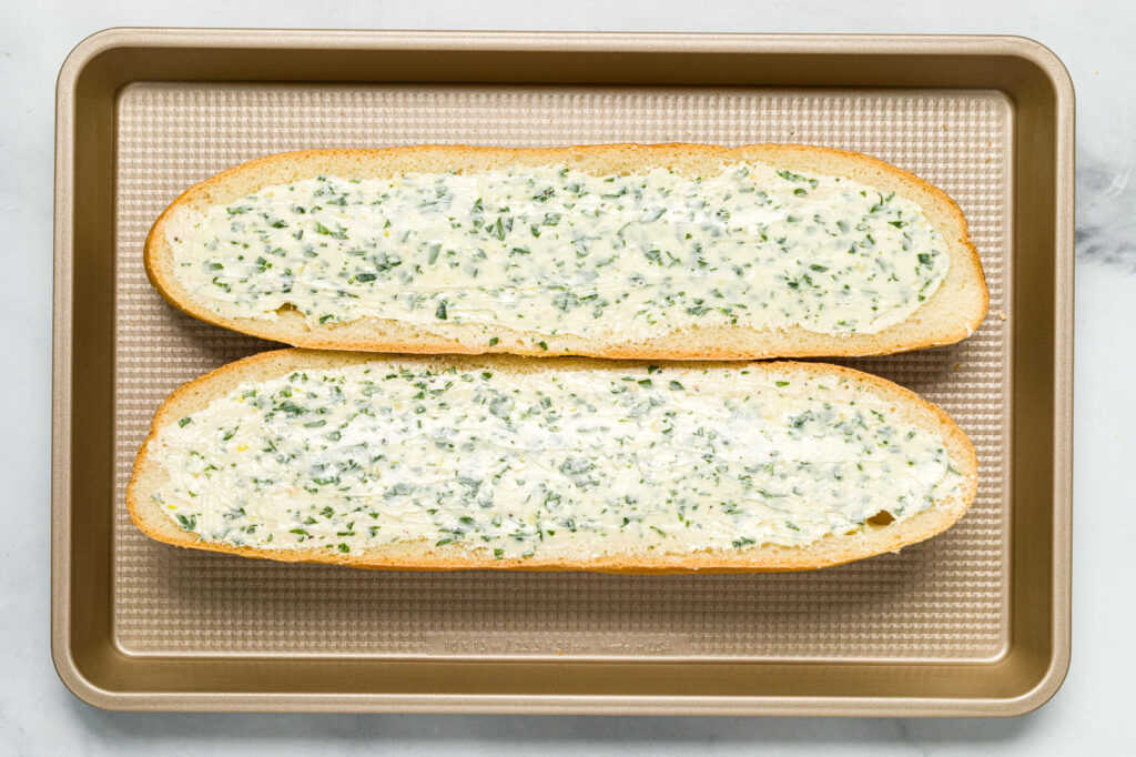 Garlic herb buttered bread ready for the oven