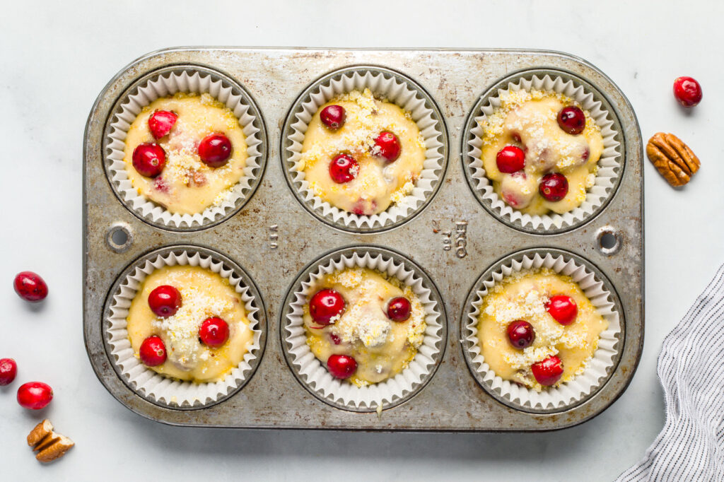 cranberry orange muffins ready for the oven