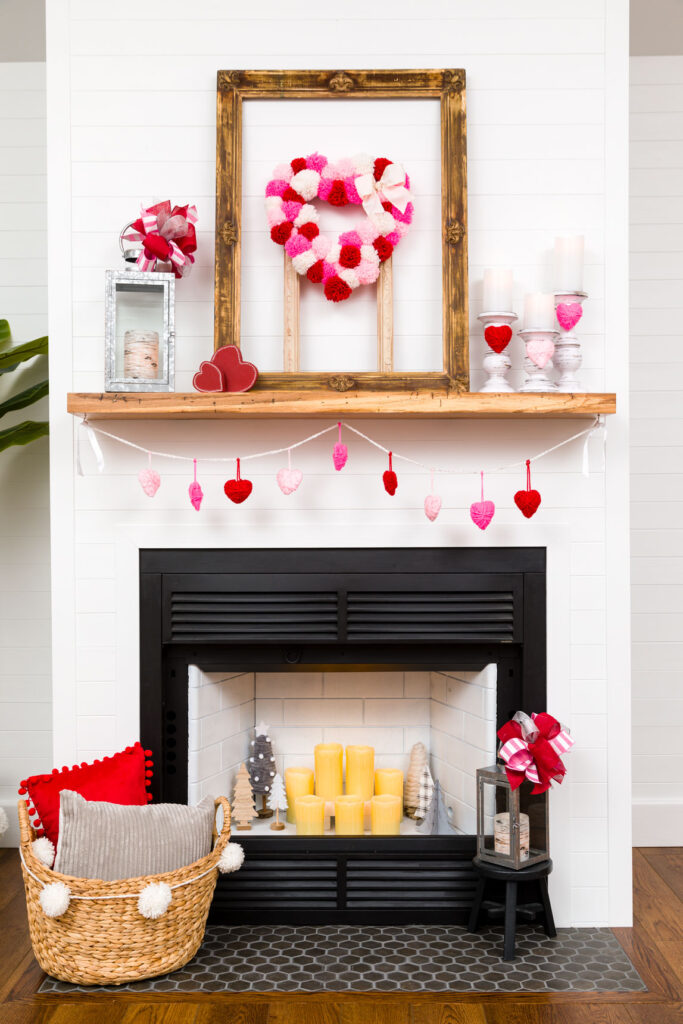 DIY Valentine's Mantle Decor