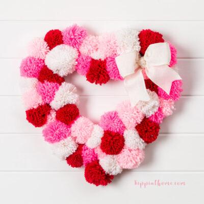 DIY Valentine's Pom Pom Wreath
