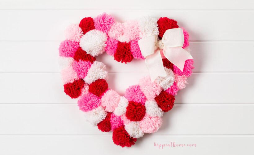 DIY Valentine's Pom-Poms Wreath