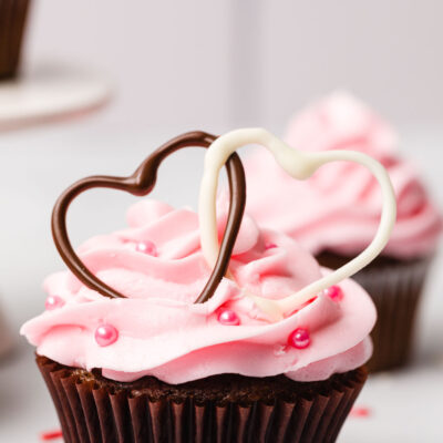 Valentine's Chocolate Cupcake with Pink Buttercream frosting