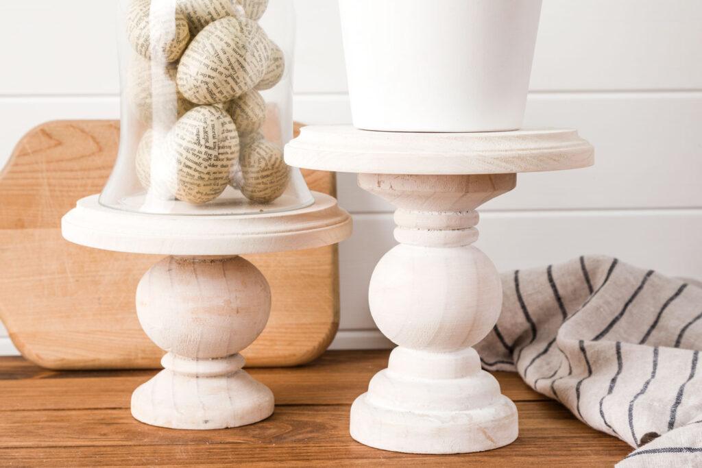 Whitewashed handmade cake stands