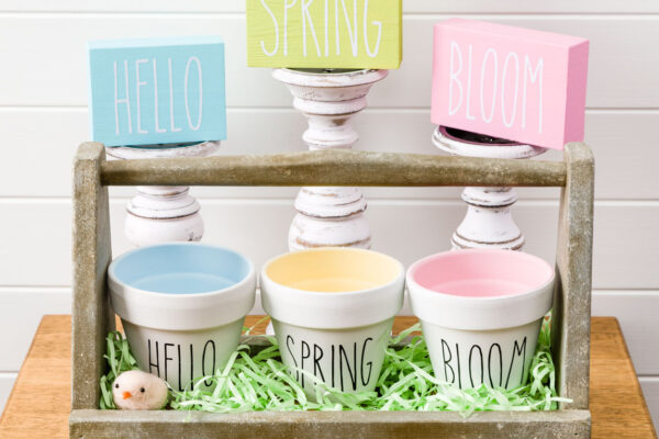 Spring Decor DIY Painted Pot, Wood Signs Pots