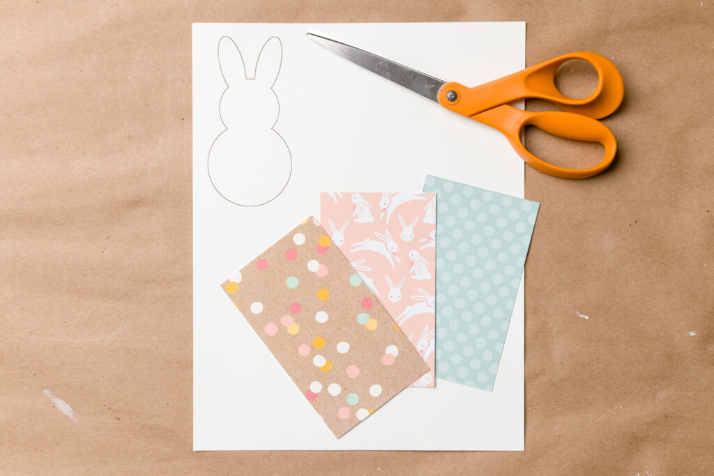 Card stock, bunny template and scissors