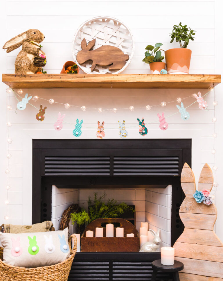 diy bunny banner for over the mantel