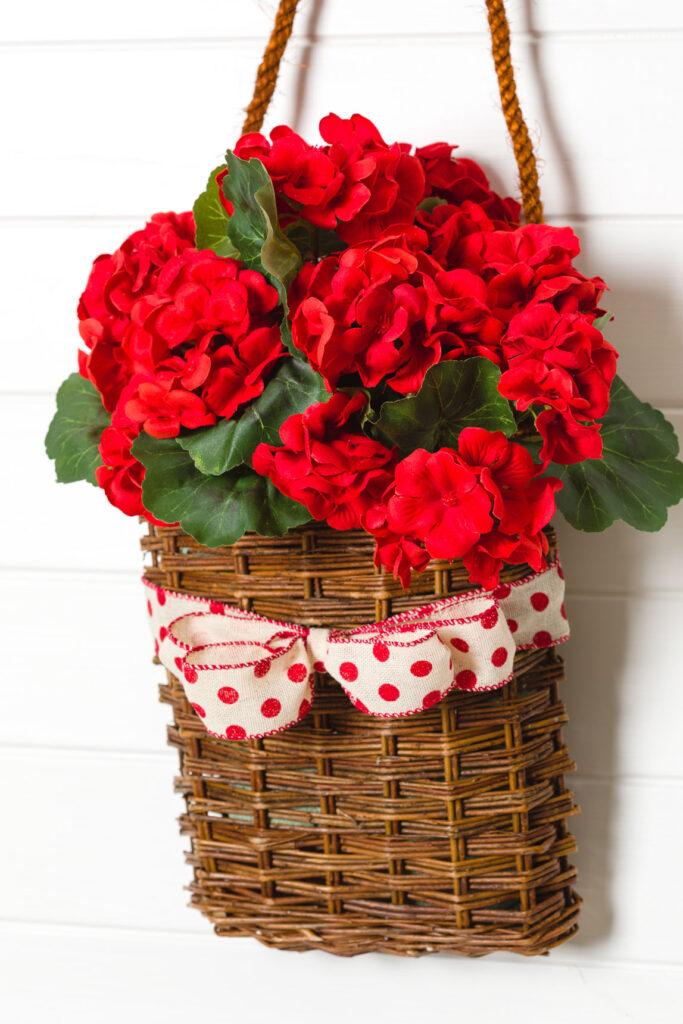 DIY Geranium Wreath Basket