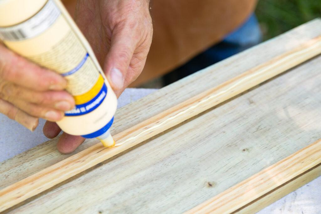 Apply glue to trim pieces