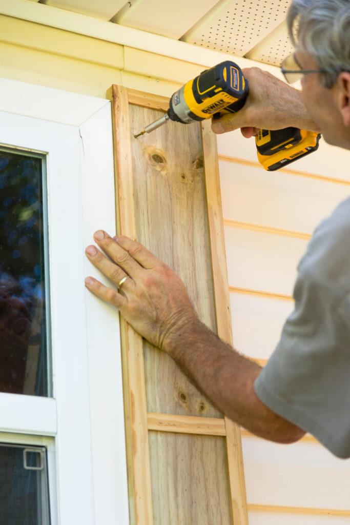 Attaching diy shutters