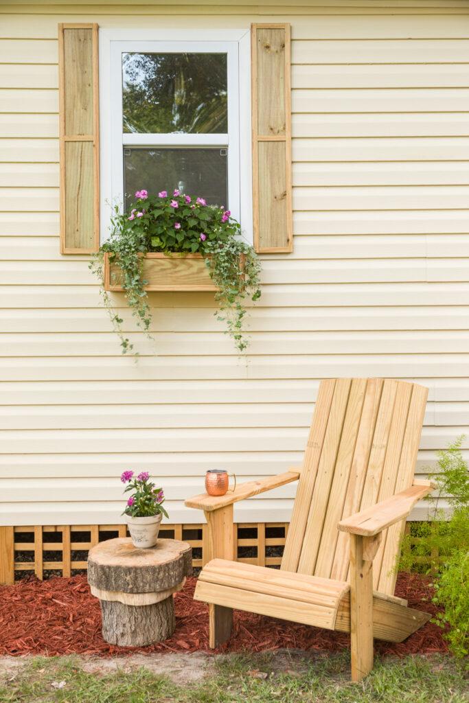 DIY Adirondack chair, window flower box, and diy shutters